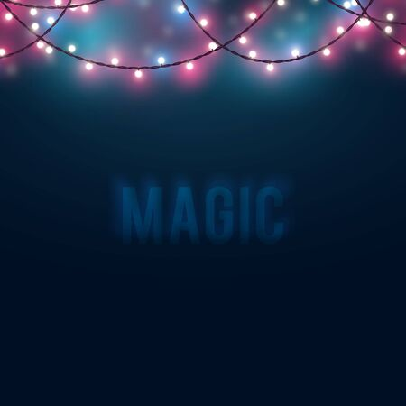 Mysterious blurred background with glowing light bulb garlands. Fairy lights decor for Christmas, New Year, birthday celebration flyer, banner or invitation. Vector illustration.