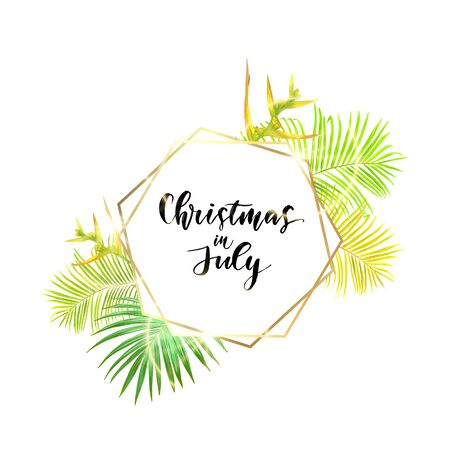 Christmas on the summer beach design with green palm leaves and tropical hibiscus flowers, vector illustration. Ilustração