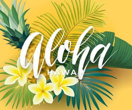 Conception de vecteur tropical avec des feuilles de palmier vertes, des fleurs de plumeria, des ananas et une inscription Aloha dessinée à la main. Illustration hawaïenne d'été.