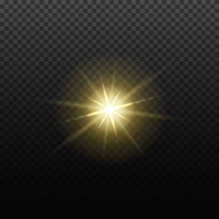 Vector light lens flare effect. Bright golden highlight. Space star explosion. Decorative magic Christmas element.