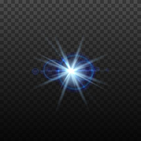 Light blue vector lens flare effect. Round isolated transparent optical design with rays. Space star explosion. Luxury sparkling highlight, digital graphics.