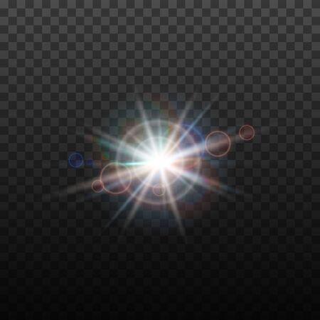Vektor-Lens-Flare-Effekt. Rundes isoliertes transparentes optisches Design mit Strahlen. Weltraumsternexplosion. Luxuriöses funkelndes Highlight, digitale Grafik.