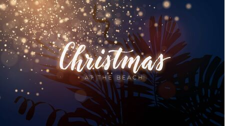 Christmas on the summer beach design with exotic palm leaves and gold glowing glitter, vector illustration. Festive sunset composition.