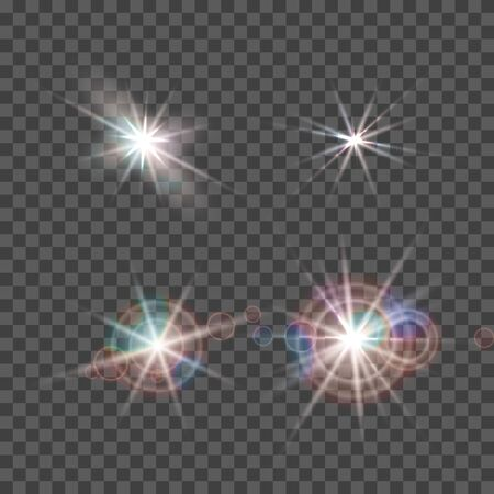 Vector light lens flare effect. Bright golden highlight. Space star explosion. Decorative magic Christmas and New Year element.