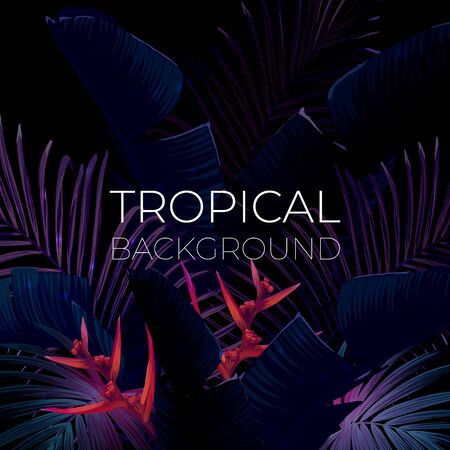 Dark blue and violet tropical party design with palm leaves and neon light. Summer night vector illustration.  イラスト・ベクター素材