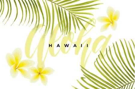 Tropical vector design with green palm leaves, plumeria flowers, pineapples and hand drawn Aloha inscription. Summer hawaiian illustration.