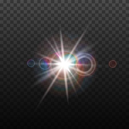 Vector lens flare effect. Round isolated transparent optical design with rays. Space star explosion. Luxury sparkling highlight. Illustration