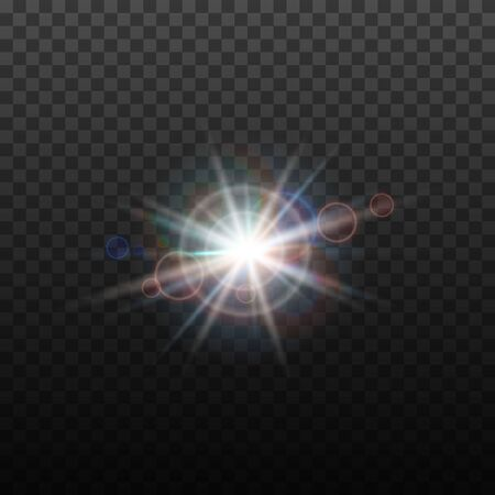 Vector lens flare effect. Round isolated transparent optical design with rays. Space star explosion. Luxury sparkling highlight. Иллюстрация