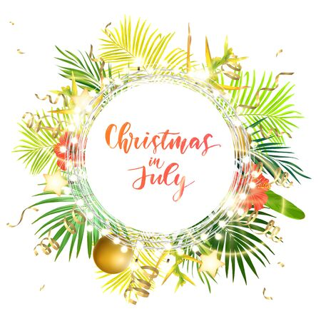 Christmas on the summer beach design with green palm leaves, tropical flowers, xmas balls, decorative light bulbs and gold glowing stars, vector illustration. Ilustração Vetorial