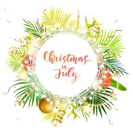 Natale sulla spiaggia estiva design con foglie di palma verde, fiori tropicali, palle di Natale, lampadine decorative e stelle d'oro incandescente, illustrazione vettoriale. Vettoriali