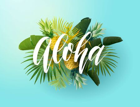 Tropical vector design with green palm leaves, pineapples and hand drawn Aloha inscription. Summer hawaiian illustration.