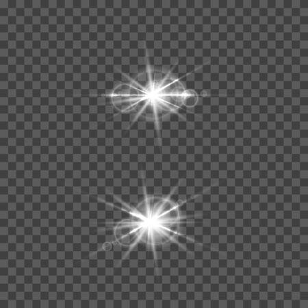 Zestaw efektu flary obiektywu wektorowego. Okrągłe izolowane przezroczyste elementy optyczne z promieniami. Eksplozja kosmicznej gwiazdy.
