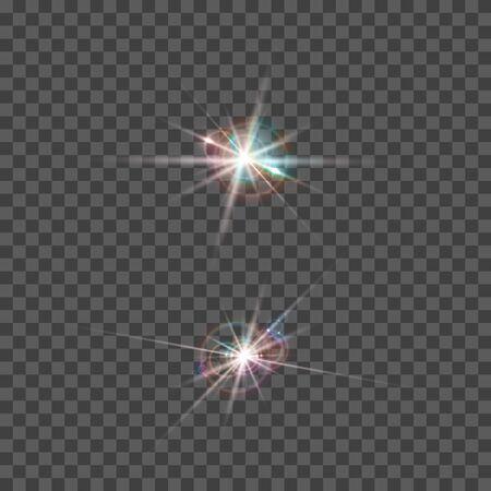 Set di effetto riflesso lente vettoriale. Elementi ottici trasparenti rotondi isolati con raggi. Esplosione di stelle spaziali.