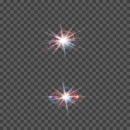 Set of vector lens flare effect. Round isolated transparent optical elements with rays. Space star explosion.