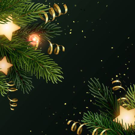 Square Christmas background design with fir branches, glowing stars, gold serpentines and luminous light bulbs. Dark grey backdrop with space for text. Vector flyer or banner template. Zdjęcie Seryjne - 130814347