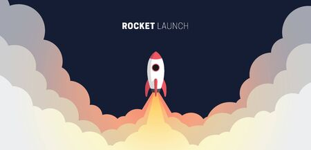 Flat design business startup launch concept, rocket icon. Vector illustration. Illusztráció