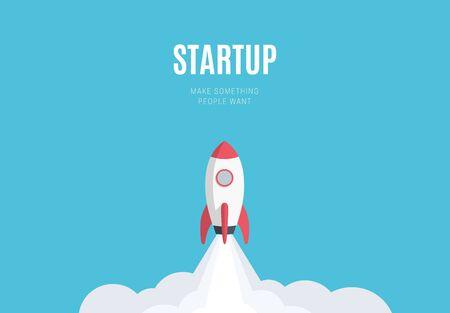 Concepto de lanzamiento de inicio de negocio de diseño plano, icono de cohete. Ilustración vectorial.