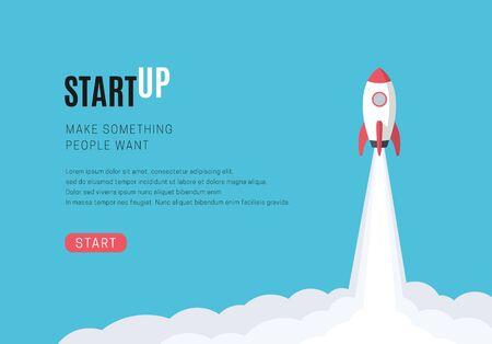 Flat design business startup launch concept, rocket icon. Vector illustration. Illustration