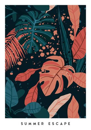 Floral vertical postcard design with monstera and royal palm leaves. Exotic hawaiian vector background.