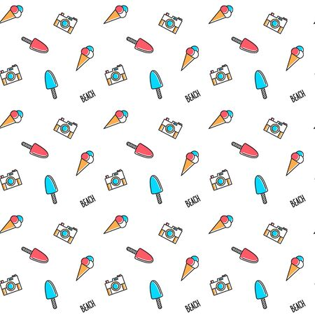 Vector line art summer seamless beach pattern. Seamless fabric or wrapping paper design.