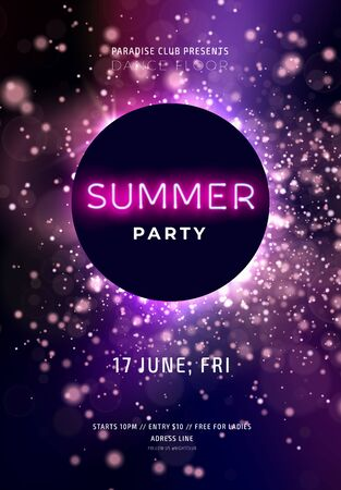 Dark purple neon party flyer with copy space. Magical background with glowing particles and gliiter. Modern blurs and gradients. Vector illustration. Illustration