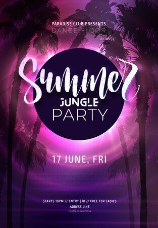 Dark purple neon tropical summer party flyer with sabal palms. Electric glow background with copy space. Modern blurs and gradients. Vector illustration.
