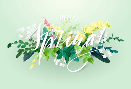 Spring floral eco design with white lily flowers, green leaves, succulent plants and integrated 3d typography. template for poster, flyer, banner or card. Illustrated nature background.
