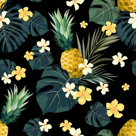 Seamless hand drawn tropical vector pattern with exotic palm leaves, hibiscus flowers, pineapples and various plants on dark background. Vector Illustration