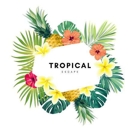 Green summer tropical background with exotic monstera palm leaves, pineapples, plumeria and hibiscus flowers. Vector floral background. Party flyer, invitation or banner template. Ilustración de vector