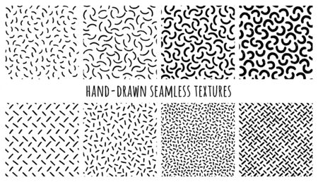 Set of hand-drawn seamless black and white textures with Memphis semicircles and uneven strokes. Vector repeat patterns. Vettoriali