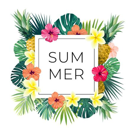 Vector square summer design with exotic monstera palm leaves, Frangipani and Hibiscus flowers, pineapples and space for text. Sale offer template, banner of flyer background. Tropical backdrop illustration.