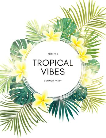 Vector summer design with exotic monstera palm leaves, Frangipani flowers and space for text. Sale offer template, banner of flyer background. Tropical backdrop illustration.