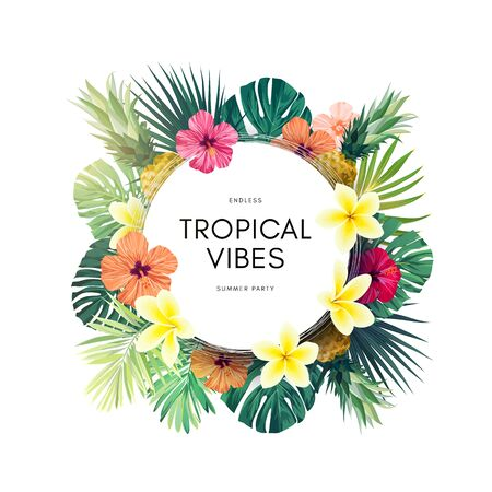Vector summer design with exotic monstera palm leaves, Frangipani and Hibiscus flowers and space for text. Sale offer template, banner of flyer background. Tropical backdrop illustration. Иллюстрация