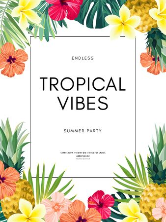 Vector summer design with exotic monstera palm leaves, Frangipani and Hibiscus flowers, pineapples and space for text. Sale offer template, banner of flyer background. Tropical illustration. Иллюстрация