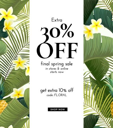Vector summer design with exotic banana palm leaves, Frangipani flowers, pineapples and space for text. Sale offer template, banner of flyer background. Tropical backdrop illustration. Иллюстрация