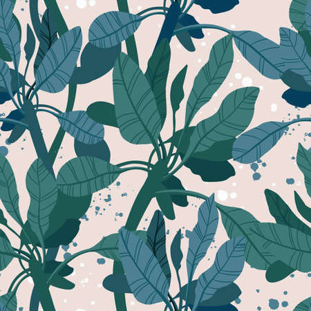 Seamless hand drawn tropical vector pattern with exotic palm leaves and various plants on light background.  イラスト・ベクター素材