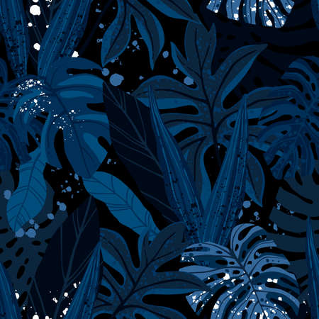Seamless hand drawn tropical vector pattern with exotic palm leaves and various plants on dark blue indigo background. 矢量图像