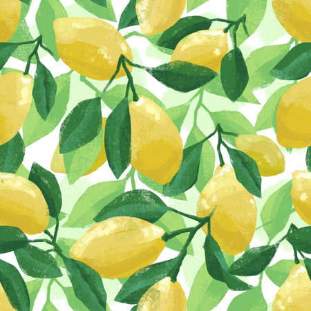 Hand painted botanical summer pattern with lemons and lemon tree leaves, artistic illustration. Seamless tile for wallpaper, fabric, textile, cloth or background. 免版税图像