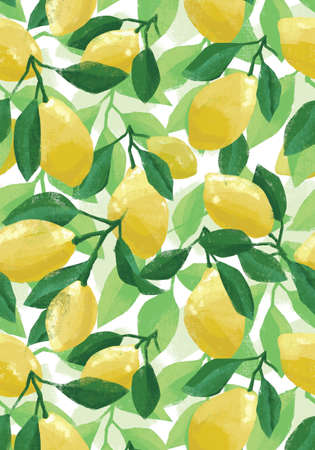 Hand painted botanical summer poster with lemons and lemon tree leaves, artistic illustration.