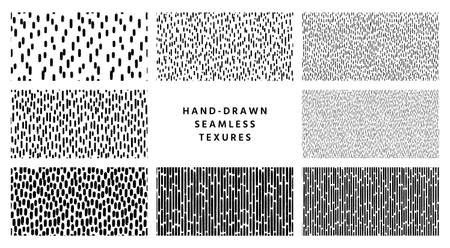 Set of hand-drawn black and white seamless texture with dashed strokes.