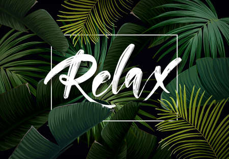 Dark tropical summer design with banana palm leaves, glowing frame and space for text. Vector flyer, banner or card template. Vector summer background. 矢量图像