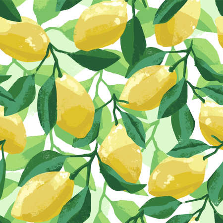 Hand painted botanical summer pattern with lemons and lemon tree leaves, vector artistic illustration. Seamless tile for wallpaper, fabric, textile, cloth or background.