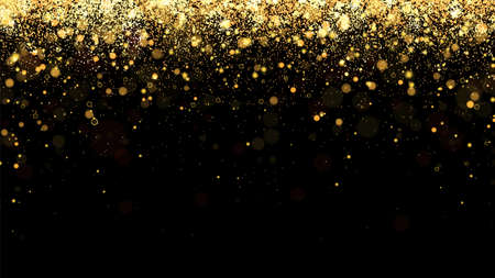 Festive vector background with gold glitter and confetti for christmas celebration. Black background with glowing golden particles. 矢量图像