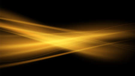 Vector abstract background with yellow-orange and gold waves on a black background. Magic flame, warm air flows for banner or cover.