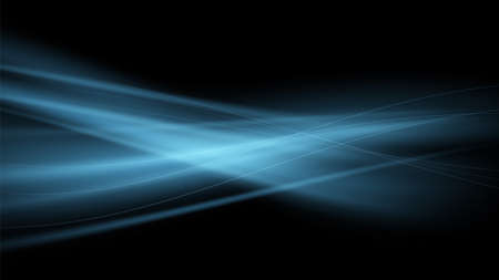 Vector abstract background with blue streams of air on a black background. Blue magic flame. Luminous wave. 矢量图像