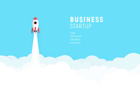 Business startup launch concept, flat design, rocket icon. Vector illustration.