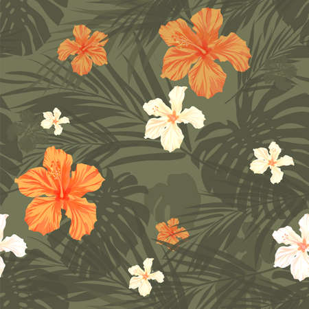 Summer camouflage hawaiian seamless pattern with tropical plants and hibiscus flowers, vector illustration 矢量图像