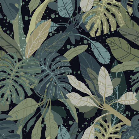 Seamless hand drawn tropical vector pattern with monstera and exotic palm leaves on dark background. 矢量图像