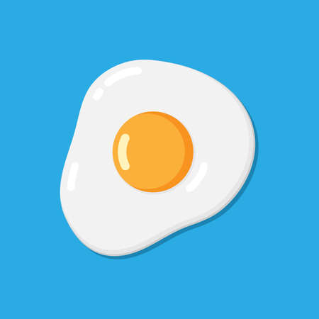 Vector flat fried egg on the blue baclground. 矢量图像