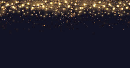 Festive vector background with gold glitter and confetti for christmas celebration. Dark background with glowing golden particles and light bulbs garlands. 矢量图像